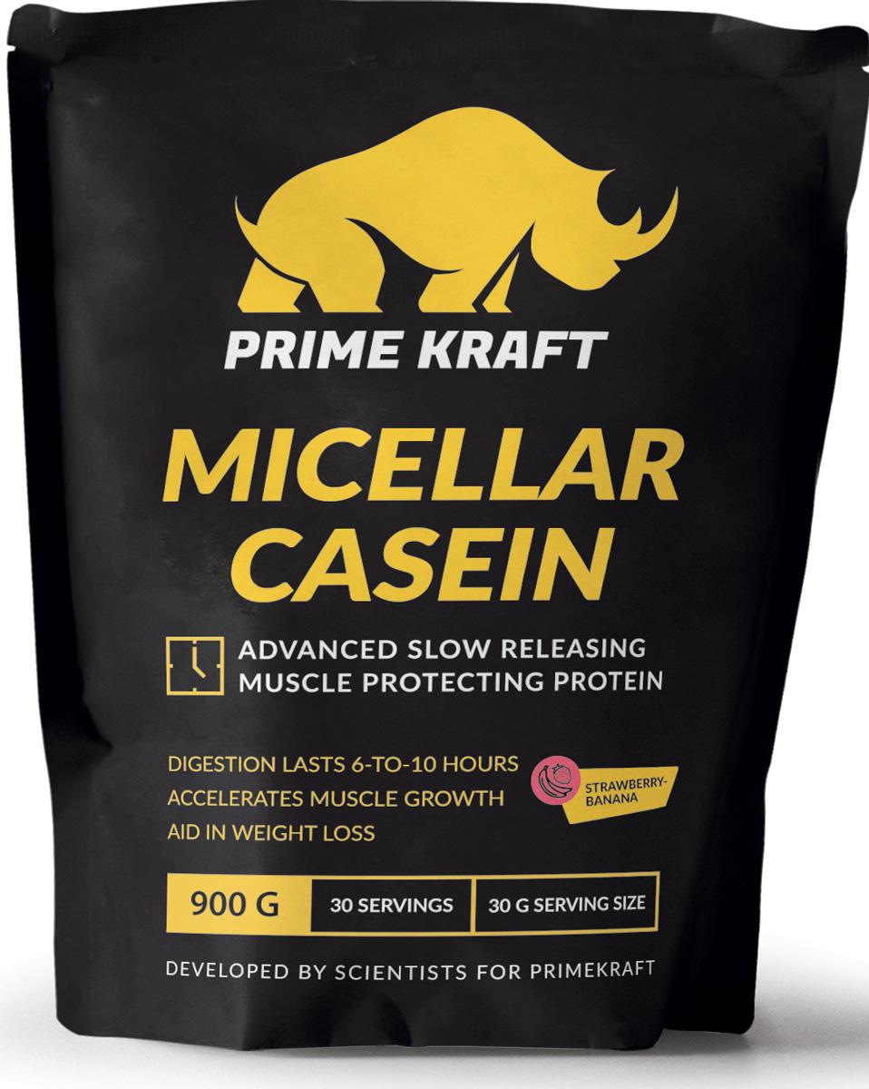 Напиток сухой Prime Kraft Micellar Casein, коктейль белково-витаминный, клубника, банан, 900 г протеин prime kraft whey клубника банан