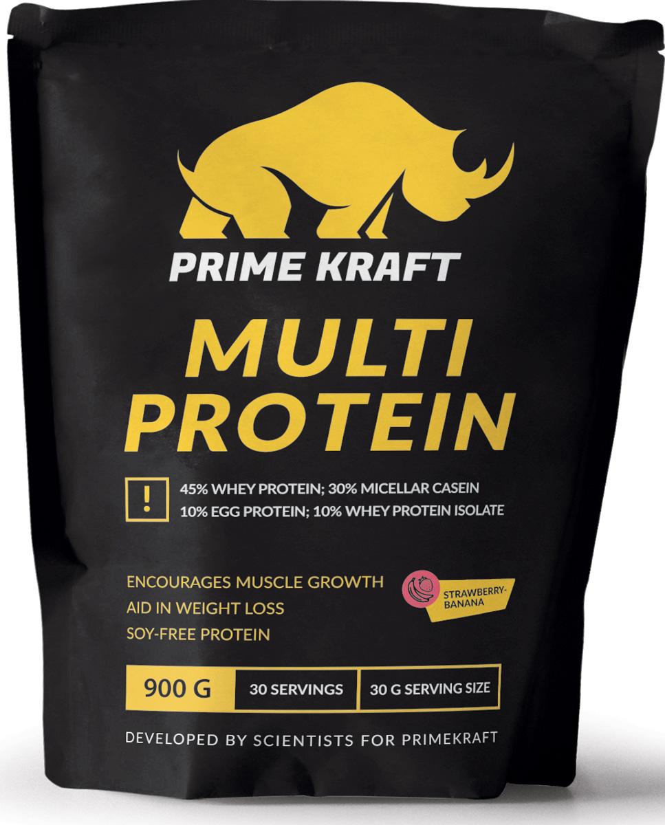 Напиток сухой Prime Kraft Multi Protein, коктейль белково-витаминный, клубника, банан, 900 г протеин qnt белковая смесь easy body protein банан клубника 350 г