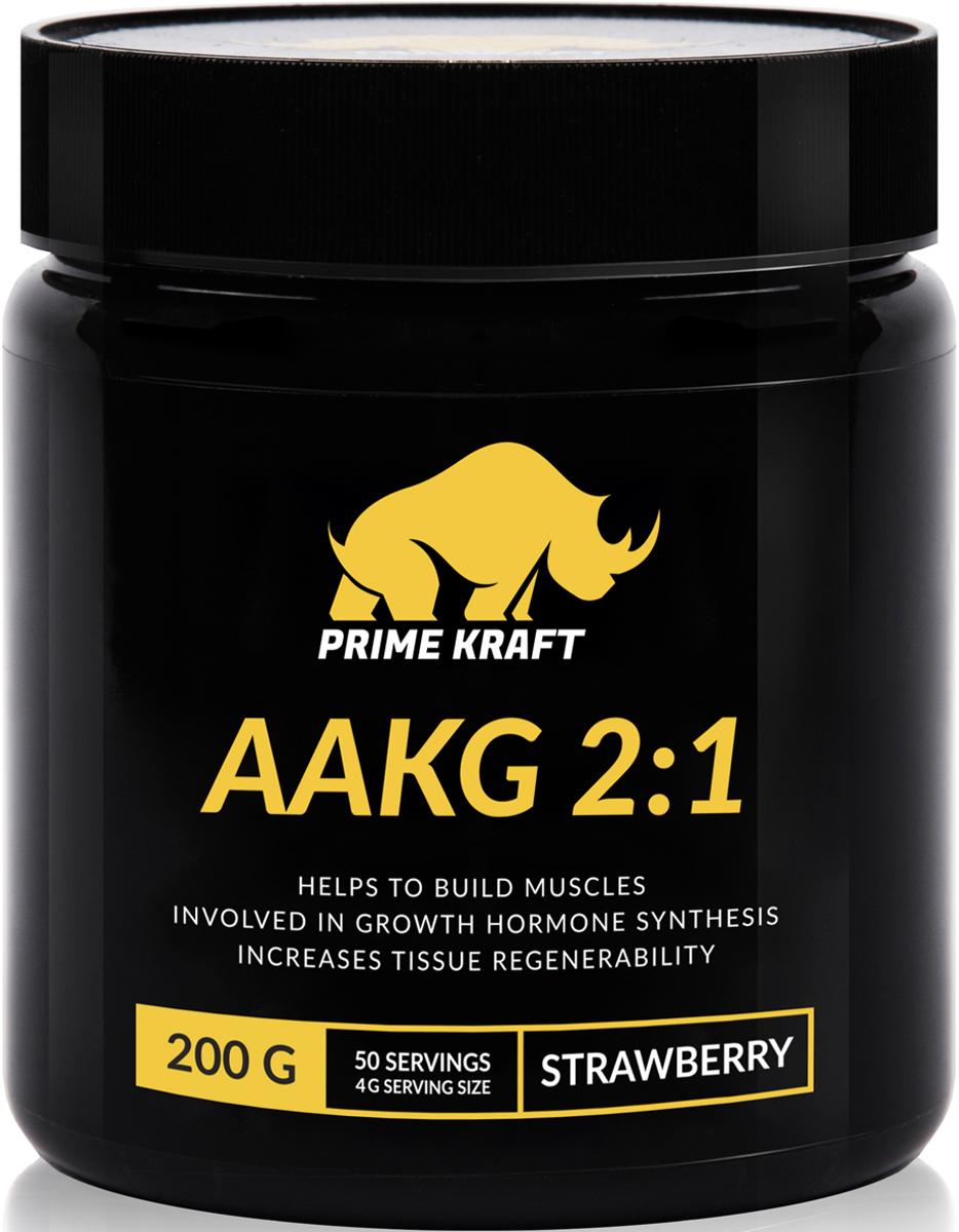 Напиток сухой Prime Kraft AAKG 2:1, коктейль фруктово-ягодный, клубника, 200 г протеин prime kraft whey клубника банан