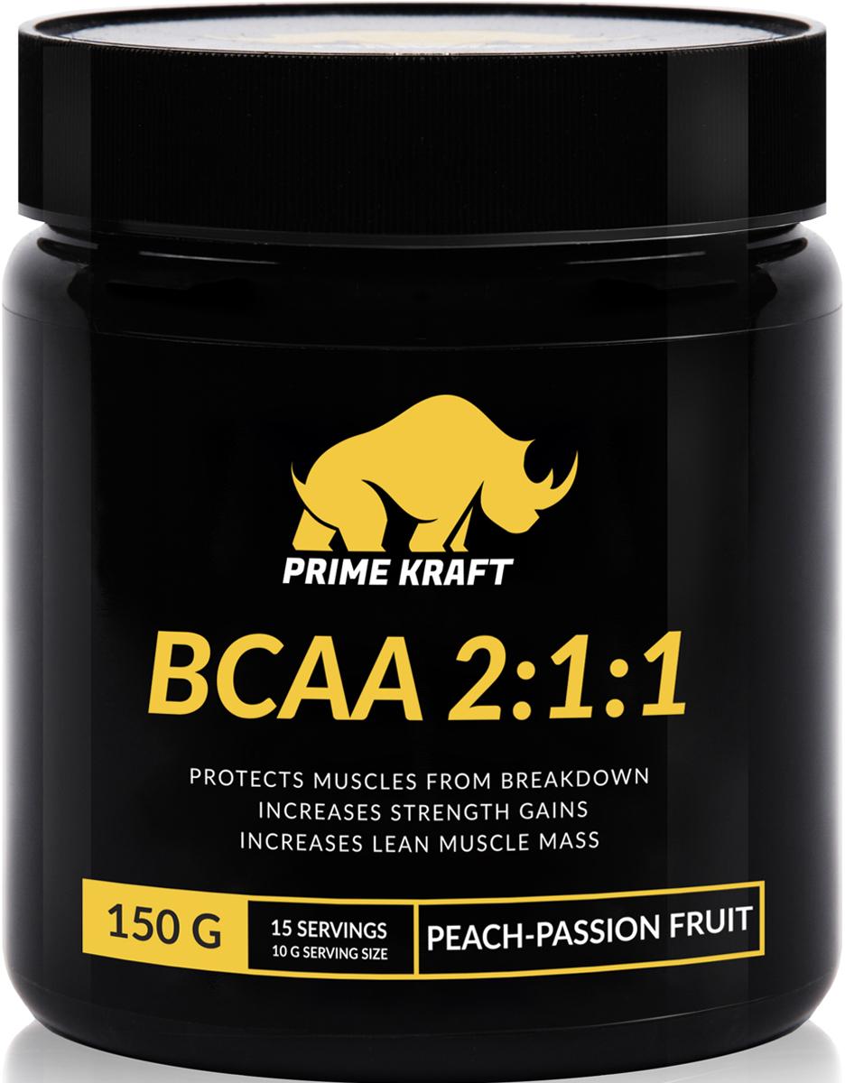 Напиток сухой Prime Kraft BCAA 2:1:1, коктейль фруктово-ягодный, персик, маракуйя, 150 г протеин prime kraft whey клубника банан