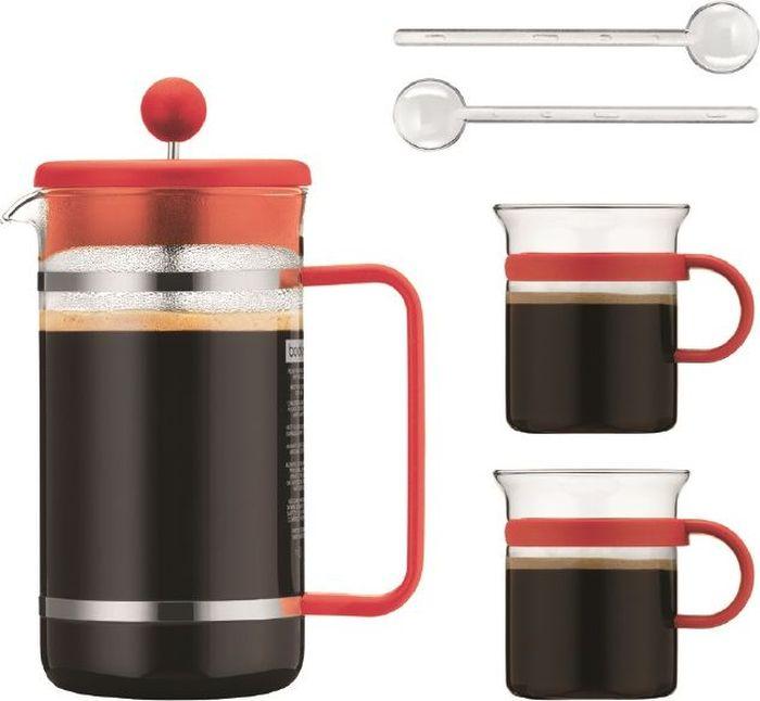 """Очень приятно начинать день с чашечки ароматного кофе. Кофейный набор Bodum """"Bistro"""" станет незаменимым помощником на кухне, а его яркий дизайн поднимет настроение. Он включает в себя 5 предметов: кофейник (1 л), 2 чашки (300 мл) и 2 ложечки (14 см)."""