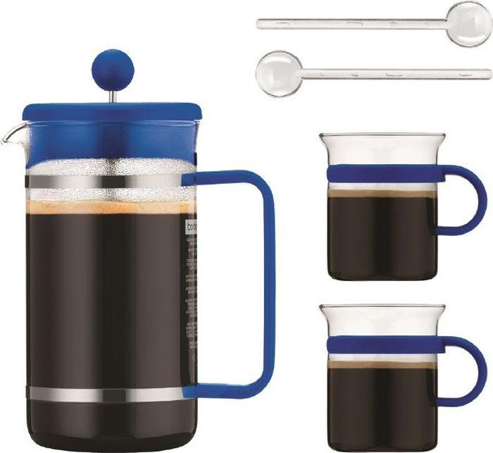 Набор кофейный Bodum Bistro, цвет: синий, 5 предметов термокувшин bodum bistro цвет белый 1 л