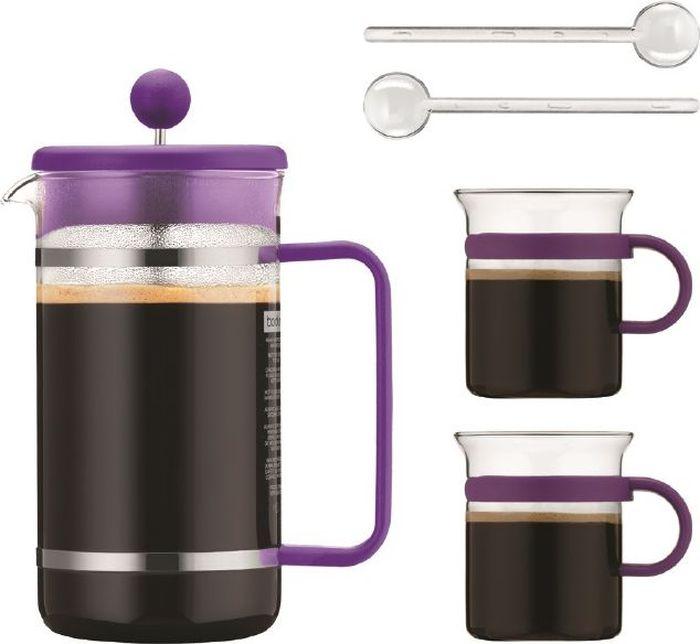 Набор кофейный Bodum Bistro, цвет: фиолетовый, 5 предметовAK1508-150-Y16Очень приятно начинать день с чашечки ароматного кофе. Кофейный набор Bodum Bistro станет незаменимым помощником на кухне.Он включает в себя 5 предметов: кофейник (1 л), 2 чашки (300 мл) и 2 ложечки (14 см).