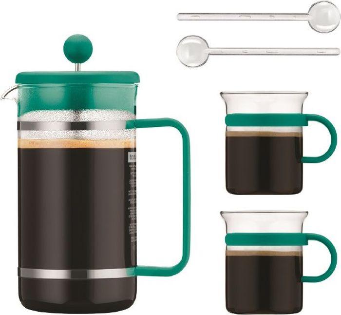 Набор кофейный Bodum Bistro, цвет: бирюзовый, 5 предметовAK1508-159-Y16Очень приятно начинать день с чашечки ароматного кофе. Кофейный набор Bodum Bistro станет незаменимым помощником на кухне.Он включает в себя 5 предметов: кофейник (1 л), 2 чашки (300 мл) и 2 ложечки (14 см).