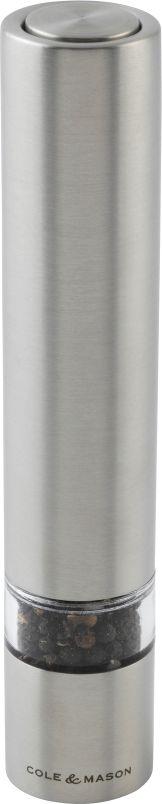Мельница для соли и перца Cole & Mason Chiswick, электрическая, цвет: матовый хром, высота 17,5 смH3056410Эргономичная электрическая универсальная мельница Cole & Mason Chiswick с корпусом цвета матового хрома, сделает процесс перемалывания быстрым и приятным. Достаточно лишь одного нажатия на кнопку, и порция свежемолотых специй готова. Прочный запатентованный керамический механизм имеет пожизненную гарантию.Элементы питания: 4 батарейки ААА. Мельница для соли и перца Cole & Mason Chiswick имеет классический и современный дизайн, легендарное качество, максимальное удобство в использовании, применение экологичных материалов.