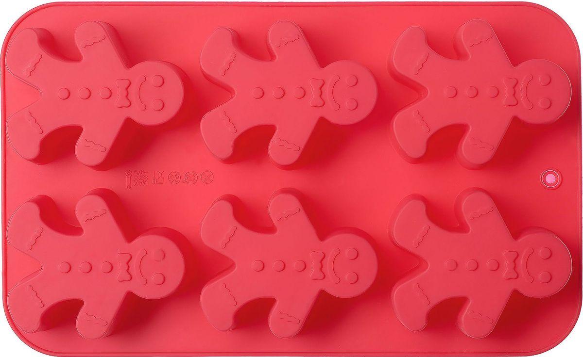 Форма для выпечки Walmer Gingerman, цвет: красный, 6 ячеекW27261628Форма для выпечки Walmer Gingerman изготовлена из высококачественного пищевого силикона. Стенки формы легко гнутся, что позволяет легко достать готовую выпечку и сохранить аккуратный внешний вид блюда. Форма содержит 6ячеек в форме человечков.Изделия из силикона очень удобны в использовании: пища в них не пригорает и не прилипает к стенкам, форма легко моется. Изделие обладает эластичными свойствами: складывается без изломов, восстанавливает свою первоначальную форму.Порадуйте своих родных и близких любимой выпечкой в необычном исполнении.Подходит для приготовления в микроволновой печи и духовом шкафу, а также для заморозки. Как выбрать форму для выпечки – статья на OZON Гид.