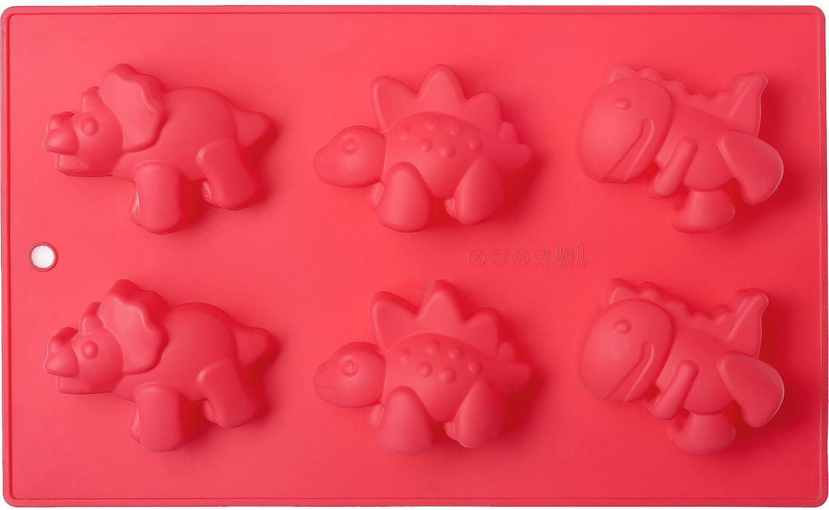 Форма для выпечки Walmer Dinosaur, 6 ячеек, цвет: красныйW27271728Форма для выпечки Walmer Dinosaur изготовлена из высококачественного пищевого силикона. Стенки формы легко гнутся, что позволяет легко достать готовую выпечку и сохранить аккуратный внешний вид блюда. Форма содержит 6ячеек в форме динозавров. Изделия из силикона очень удобны в использовании: пища в них не пригорает и не прилипает к стенкам, форма легко моется. Изделие обладает эластичными свойствами: складывается без изломов, восстанавливает свою первоначальную форму. Порадуйте своих родных и близких любимой выпечкой в необычном исполнении. Подходит для приготовления в микроволновой печи и духовом шкафу, а также для заморозки.