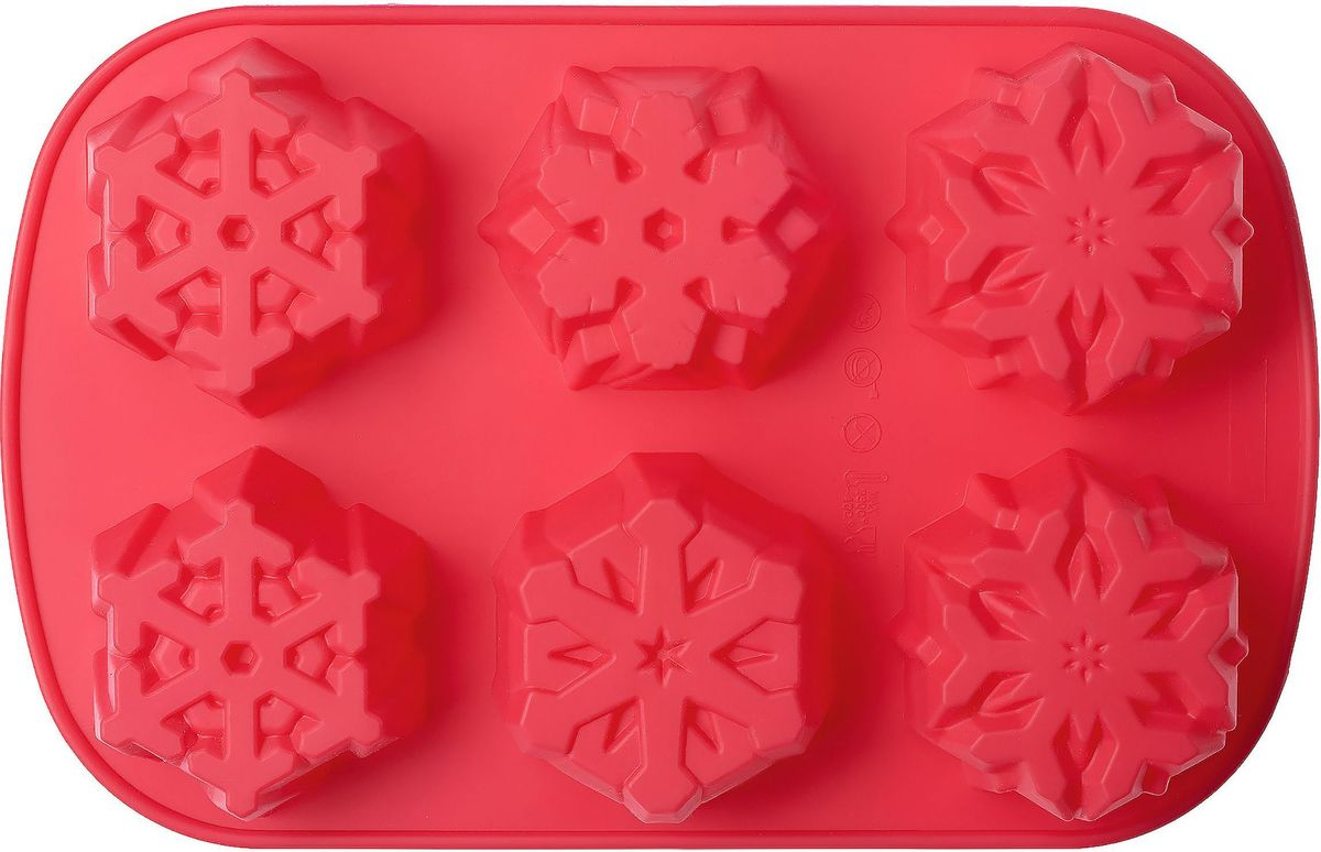 Форма для выпечки Walmer Let It Snow, 6 ячеек, цвет: красныйW27281840Форма для выпечки Walmer изготовлена из высококачественного пищевого силикона. Стенки формы легко гнутся, что позволяет легко достать готовую выпечку и сохранить аккуратный внешний вид блюда. Форма содержит 6 ячеек различной формы. Изделия из силикона очень удобны в использовании: пища в них не пригорает и не прилипает к стенкам, форма легко моется. Изделие обладает эластичными свойствами: складывается без изломов, восстанавливает свою первоначальную форму. Порадуйте своих родных и близких любимой выпечкой в необычном исполнении. Подходит для приготовления в микроволновой печи и духовом шкафу, а также для заморозки.