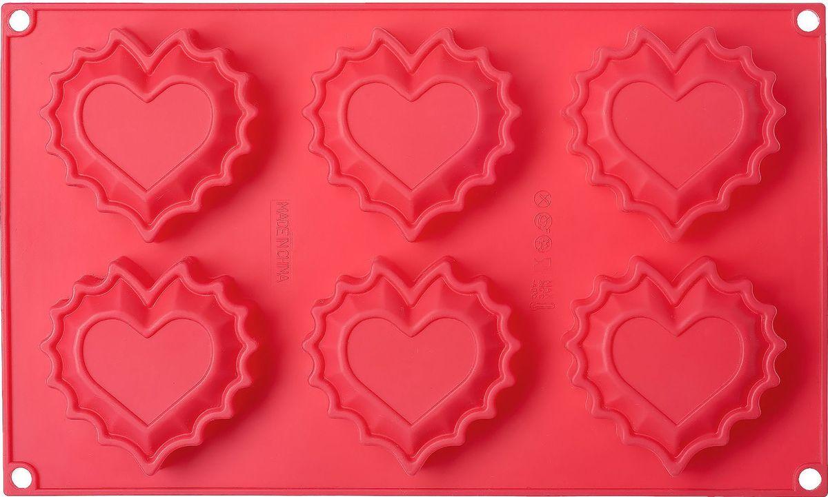 Форма для выпечки Walmer Sweet Heart, 6 ячеек, цвет: красныйW27291825