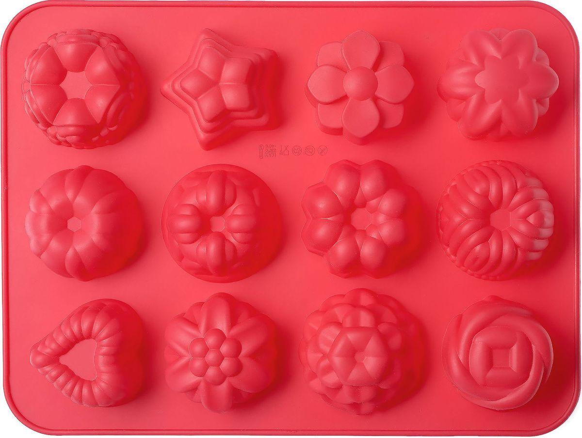 Форма для выпечки Walmer Bakery, 12 ячеек, цвет: красныйW27322440Форма для выпечки Walmer изготовлена из высококачественного пищевого силикона. Стенки формы легко гнутся, что позволяет легко достать готовую выпечку и сохранить аккуратный внешний вид блюда. Форма содержит 12 ячеек различной формы.Изделия из силикона очень удобны в использовании: пища в них не пригорает и не прилипает к стенкам, форма легко моется. Изделие обладает эластичными свойствами: складывается без изломов, восстанавливает свою первоначальную форму.Порадуйте своих родных и близких любимой выпечкой в необычном исполнении.Подходит для приготовления в микроволновой печи и духовом шкафу, а также для заморозки. Как выбрать форму для выпечки – статья на OZON Гид.