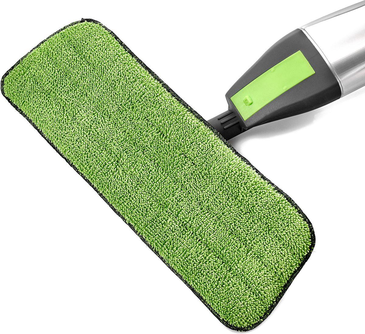 Насадка сменная для швабры спрей мопа Walmer House, цвет: зеленый, 41 х 14 смHM-1674Сменная насадка для швабры спрей мопа Walmer House выполнена измикрофибры.Насадки из микроволокна обладают несколькими важнымидостоинствами: микроволокно в сухом виде в процессепротирания поверхности электризуется и притягивает к себемельчайшие частицы пыли, а не разгоняет их по комнате. Привлажной уборке, благодаря способности микрофибровоговолокна поглощать влагу в семь раз больше самой ткани,насадка хорошо впитывает и удерживает влагу, забирает вструктуру ткани любые загрязнения, не оставляет разводов.Крученые петли работают как деликатный абразив иусиливают впитывающие свойства микрофибры.Использование насадки для швабры Walmer House позволяеточистить любые поверхности от пыли и грязи безиспользования химических средств. Размер: 41 х 14 см.