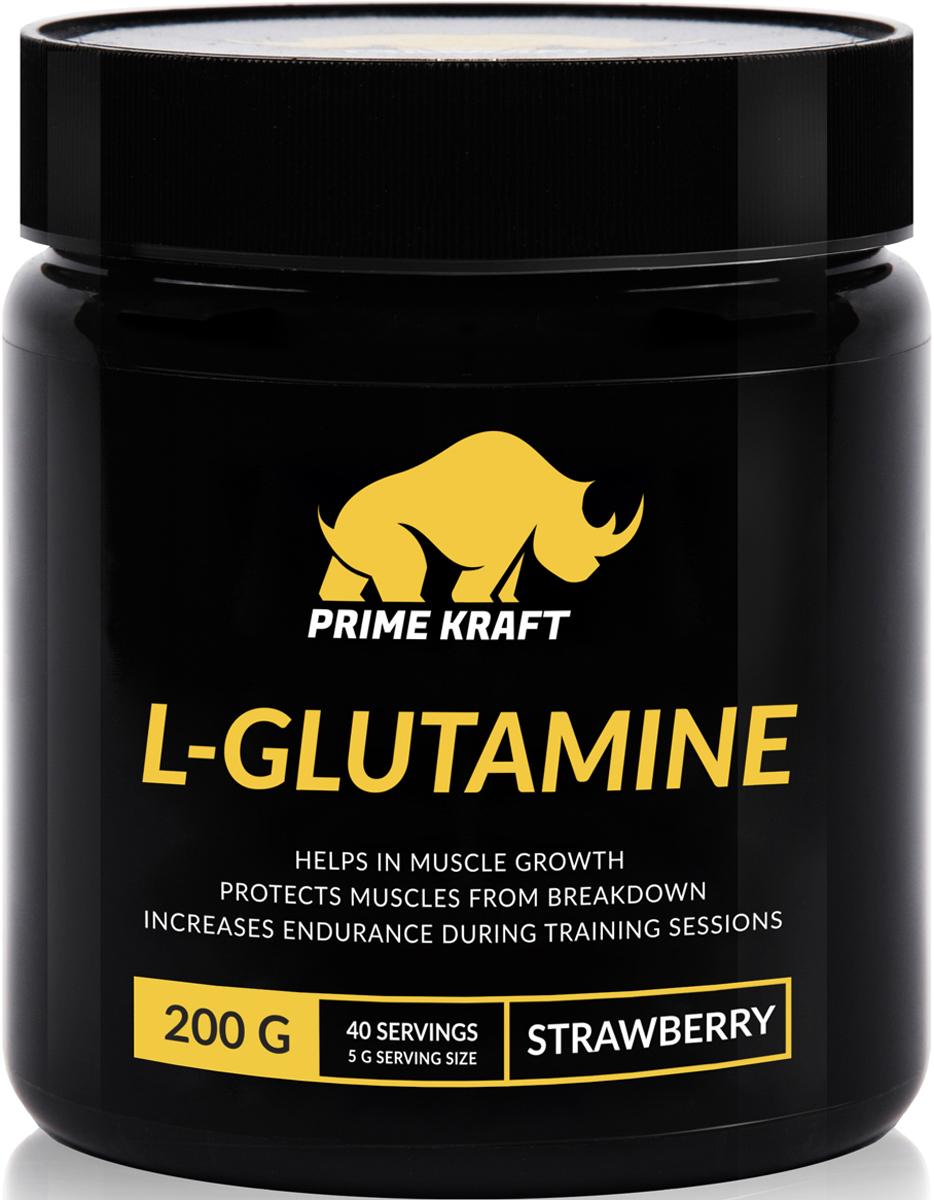 Напиток сухой Prime Kraft L-Glutamine, коктейль фруктово-ягодный, клубника, 200 г протеин prime kraft whey клубника банан