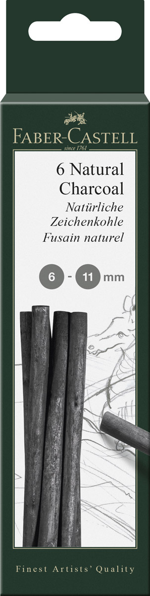 Faber-Castell Натуральный уголь Pitt Monochrome 5 шт129398Набор стержней из натурального угля для рисования Faber-Castell Pitt Monochrome состоит из 5углей, выполненных в форме карандаша.Это один из самых уникальных и высококачественных продуктов компании Faber-Castell(Германия). Натуральный уголь изготовлен из буковых или вербных веточек. Отличаетсянасыщенным и равномерным черным цветом с синеватым оттенком.Уголь - это быстрый, линейный и чувственный рисовальный инструмент. Он может создать каквыразительные, так и мягкие линии, гибкость которых непревзойденна. Характер и воздействиеугольного штриха определяется способом ведения угля.Углем можно создавать мягкие и проработанные тоновые эффекты различными способами. В комплект входят 5 угольных стержней диаметром от 6 до 11 мм.