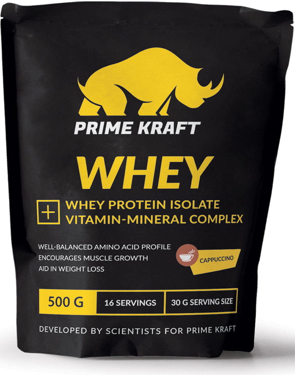 "Напиток сухой Prime Kraft ""Whey"", коктейль белково-витаминный, капучино, 500 г"