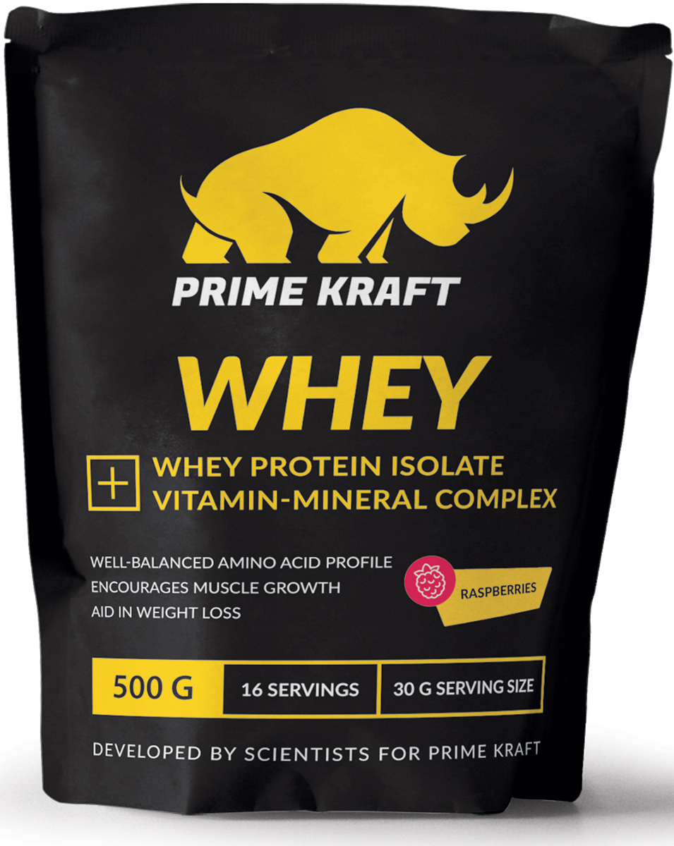 Напиток сухой Prime Kraft Whey, коктейль белково-витаминный, малина, 500 гЯБ016764Whey от российского производителя Prime Kraft состоит из двух видов сывороточного протеина: концентрата и изолята. Обе формы производятся из молочной сыворотки, образующаяся при изготовлении сыра. А благодаря ультрафильтрационному методу сохраняется природная структура белков. В свою очередь, это позволяет сохранить концентрацию питательных веществ, а ненужные элементы (углеводы и жиры) практически полностью удалить. Данный протеин из сыворотки содержит сбалансированный аминокислотный профиль. Аминокислоты являются основными материалами, обеспечивающими строительство новых мышечных клеток. Prime Kraft Whey - это не просто белковый коктейль, поскольку он улучшен витаминно-минеральным комплексом. Эти ценные вещества обеспечивают наилучшую усвояемость, регулируют функционирование многих жизненно важных процессов и улучшают работоспособность организма в целом.Рекомендации по применению: смешайте 30 г продукта с 200-250 мл воды или обезжиренного молока. В дни отдыха принимайте 2-3 раза в день между приемами пищи, в тренировочные дни утром, а также до и после тренировки.Состав: протеиновая смесь (концентрат сывороточного белка, изолят сывороточного белка), ароматизатор, молочная кислота, натуральный краситель, ксантановая камедь, гуаровая камедь, лимонная кислота, минеральная смесь (карбонат кальция, хлорид калия, оксид магния, сульфат железа, оксид цинка, сульфат меди, сульфат марганца, йодат калия, селенит натрия), витаминная смесь (аскорбиновая кислота, ацетат токоферола, никотинамид, ацетат ретинола, пантотенат кальция, гидрохлорид пиридоксина, рибофлавин, холекальциферол, мононитрат тиамина, фолиевая кислота, биотин, цианокобаламин), хлорид натрия, ацесульфам К, сукралоза.Данный продукт содержит молочные ингредиенты и соевый лецитин (эмульгатор).Товар сертифицирован.Как повысить эффективность тренировок с помощью спортивного питания? Статья OZON Гид