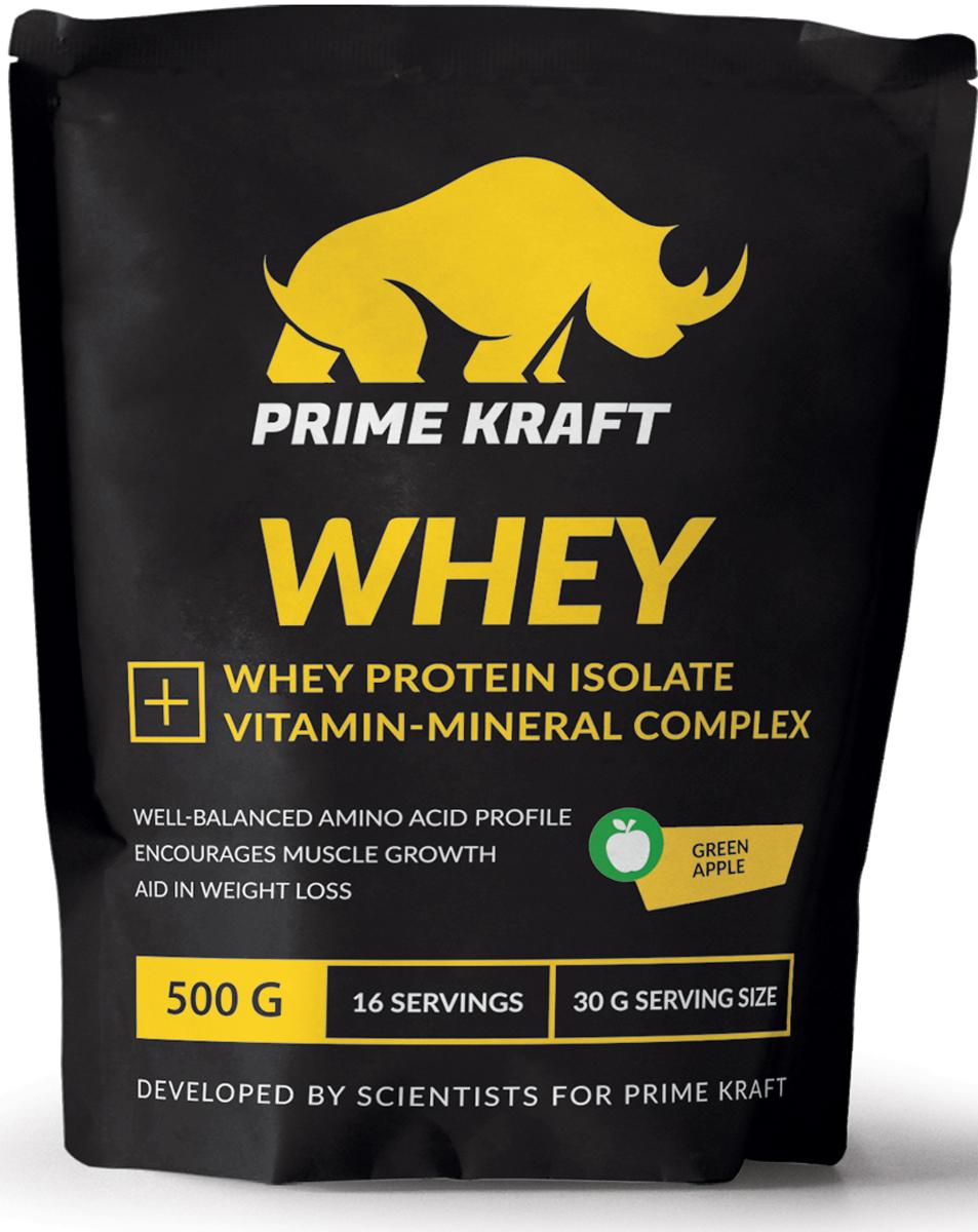 Напиток сухой Prime Kraft Whey, коктейль белково-витаминный, зеленое яблоко, 500 гЯБ016761Whey от российского производителя Prime Kraft состоит из двух видов сывороточного протеина: концентрата и изолята. Обе формы производятся из молочной сыворотки, образующаяся при изготовлении сыра. А благодаря ультрафильтрационному методу сохраняется природная структура белков. В свою очередь, это позволяет сохранить концентрацию питательных веществ, а ненужные элементы (углеводы и жиры) практически полностью удалить.Данный протеин из сыворотки содержит сбалансированный аминокислотный профиль. Аминокислоты являются основными материалами, обеспечивающими строительство новых мышечных клеток. Prime Kraft Whey - это не просто белковый коктейль, поскольку он улучшен витаминно-минеральным комплексом. Эти ценные вещества обеспечивают наилучшую усвояемость, регулируют функционирование многих жизненно важных процессов и улучшают работоспособность организма в целом.Рекомендации по применению: смешайте 30 г продукта с 200-250 мл воды или обезжиренного молока. В дни отдыха принимайте 2-3 раза в день между приемами пищи, в тренировочные дни утром, а также до и после тренировки.Состав: протеиновая смесь (концентрат сывороточного белка, изолят сывороточного белка), ароматизатор, молочная кислота, натуральный краситель, ксантановая камедь, гуаровая камедь, лимонная кислота, минеральная смесь (карбонат кальция, хлорид калия, оксид магния, сульфат железа, оксид цинка, сульфат меди, сульфат марганца, йодат калия, селенит натрия), витаминная смесь (аскорбиновая кислота, ацетат токоферола, никотинамид, ацетат ретинола, пантотенат кальция, гидрохлорид пиридоксина, рибофлавин, холекальциферол, мононитрат тиамина, фолиевая кислота, биотин, цианокобаламин), хлорид натрия, ацесульфам К, сукралоза.Данный продукт содержит молочные ингредиенты и соевый лецитин (эмульгатор).Товар сертифицирован.Как повысить эффективность тренировок с помощью спортивного питания? Статья OZON Гид