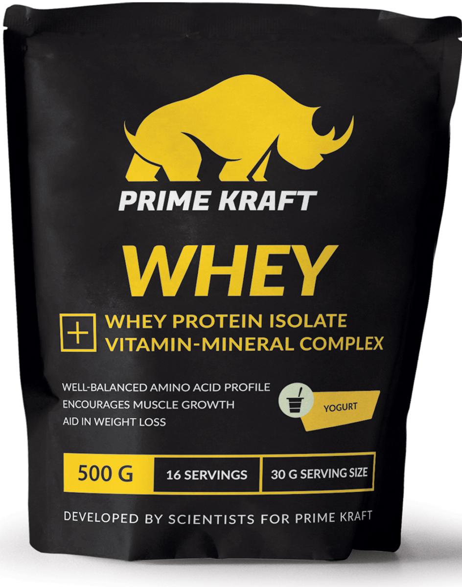 Напиток сухой Prime Kraft Whey, коктейль белково-витаминный, йогурт, 500 г протеин prime kraft whey клубника банан