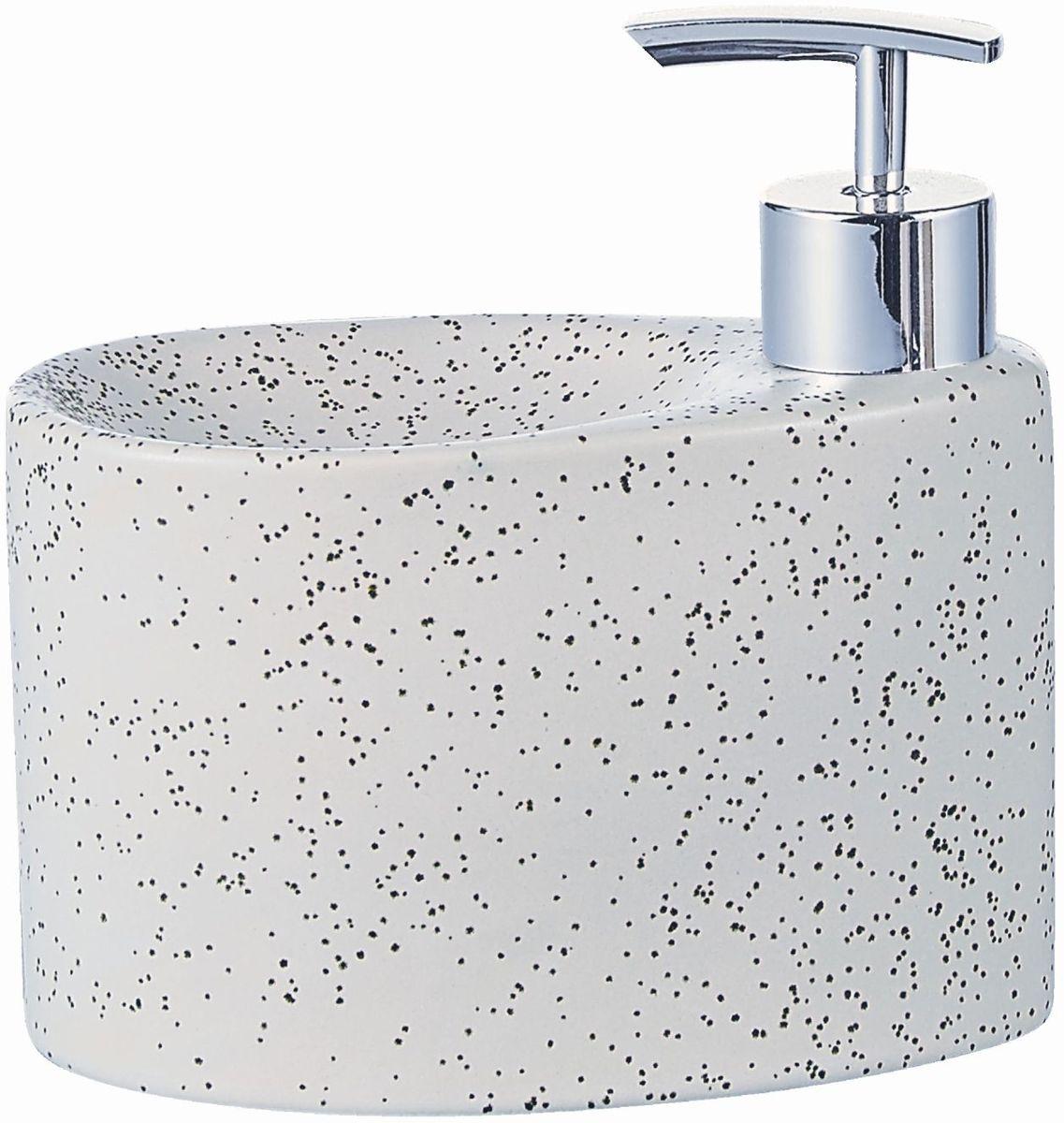 """Дозатор для жидкого мыла """"Elrington"""", изготовленный из  керамики и металла, отлично подойдет для вашей ванной комнаты.  Такой аксессуар очень удобен в использовании, достаточно  лишь перелить жидкое мыло в дозатор, а когда необходимо  использование мыла, легким нажатием выдавить нужное  количество. Также изделие оснащено подставкой под губку. Дозатор для жидкого мыла """"Elrington"""" создаст особую атмосферу  уюта и максимального комфорта в ванной."""