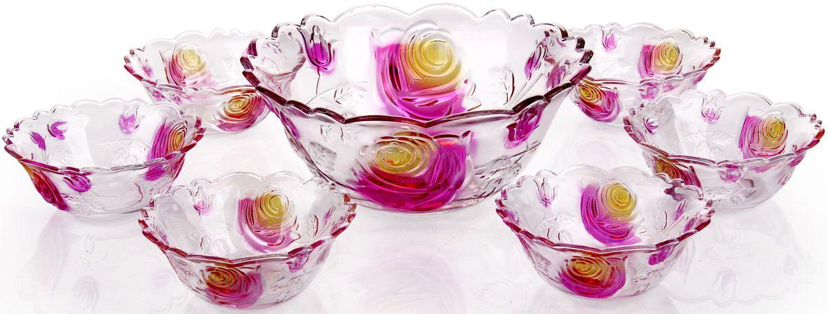 """Набор """"Olaff"""" состоит из семи круглых салатников. Изделия,  изготовленные из высококачественного стекла, оформлены рельефным краем и красочным  изображением цветов.  Такие салатники сочетают в себе изысканный дизайн с максимальной  функциональностью. Оригинальность оформления придется по вкусу тем, кто предпочитает  утонченность и изящность.  Набор салатников """"Olaff"""" украсит сервировку вашего стола и подчеркнет прекрасный вкус  хозяйки, а также станет отличным подарком.  Состав набора: 6 салатников - 250 мл, большой салатник - 1,5 л."""