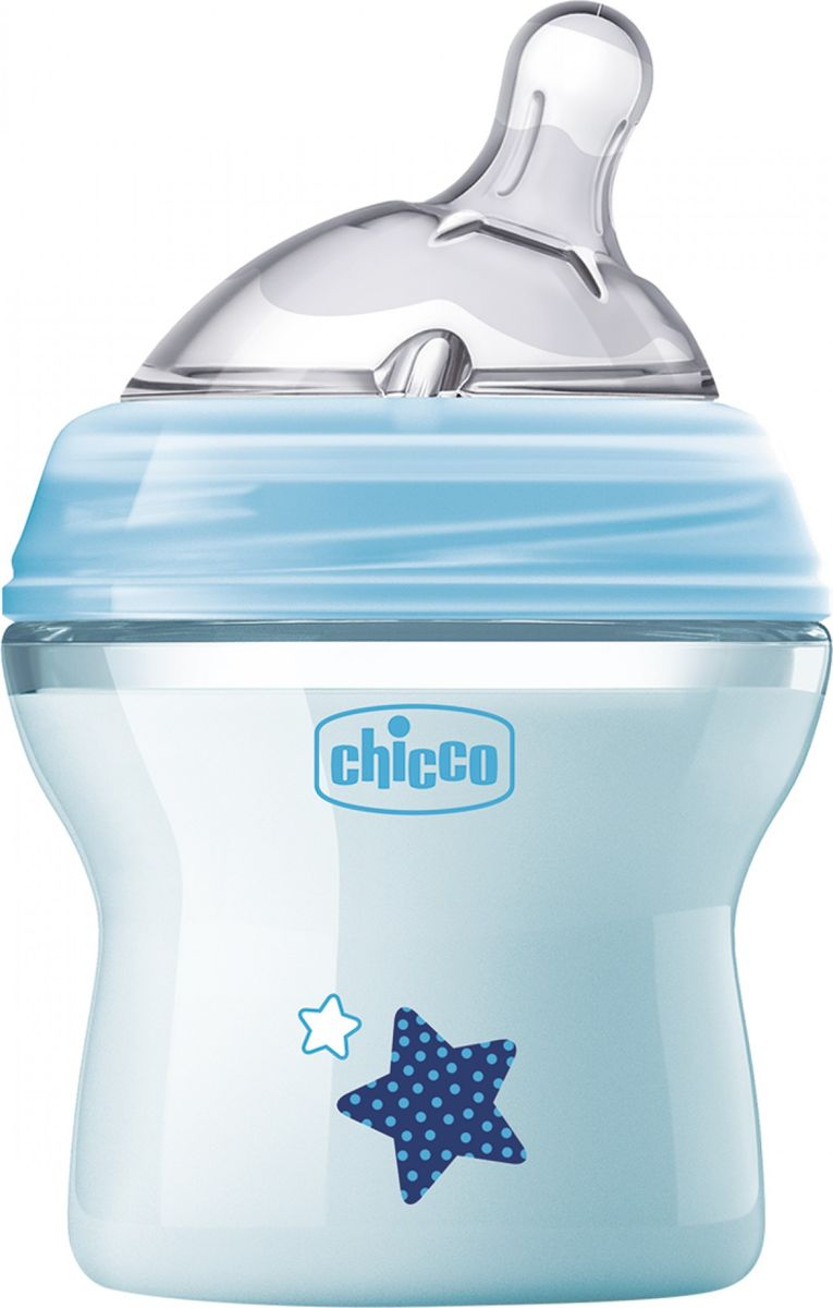 Chicco Бутылочка для кормления с силиконовой соской Natural Feeling от 0 месяцев цвет голубой 150 мл
