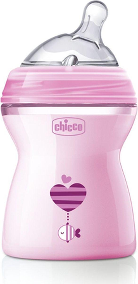 Chicco Бутылочка для кормления с силиконовой соской Natural Feeling от 2 месяцев цвет розовый 250 мл