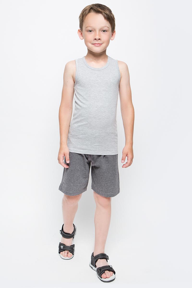 Майка для мальчика Sela, цвет: серый меланж. Tslub-7852/015-7311. Размер 92/98, 2-4 годаTslub-7852/015-7311Майка для мальчика Sela изготовлена из хлопка с добавлением полиэстера. Модель имеет круглый вырез горловины и стандартную длину. Легкая и комфортная майка удобна в носке.