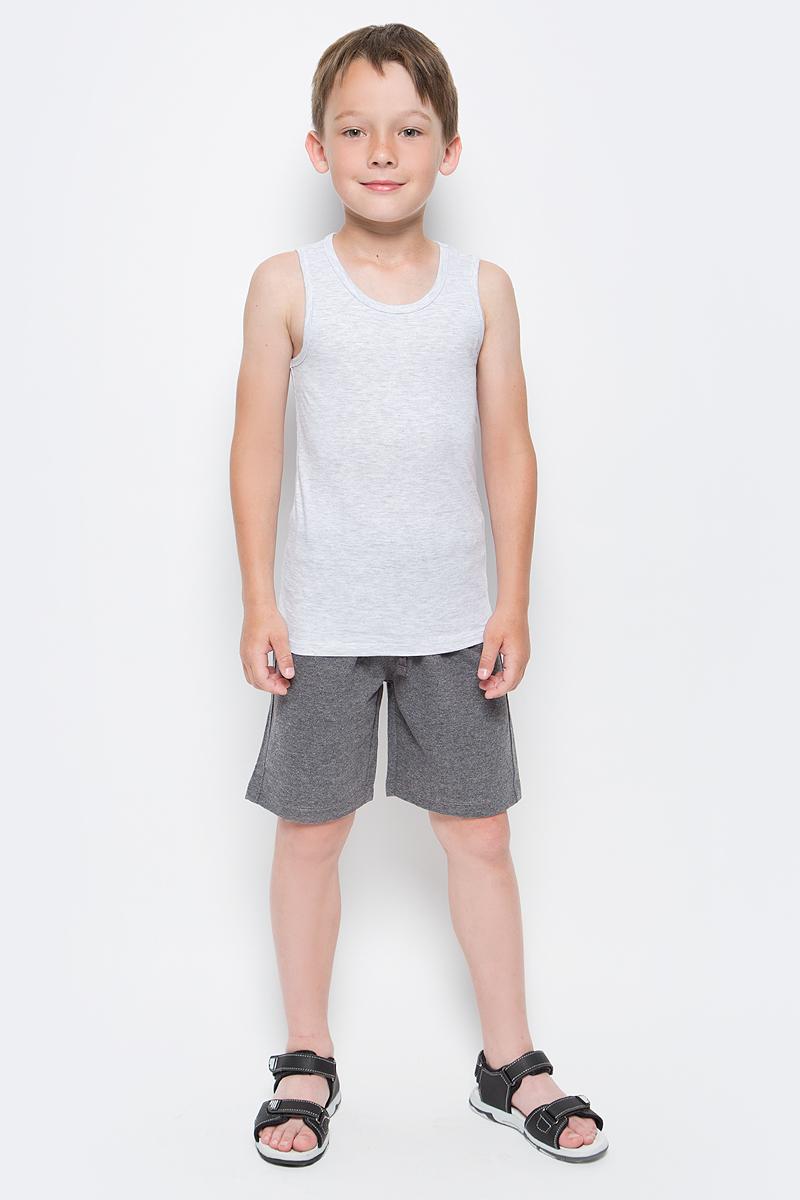 Майка для мальчика Sela, цвет: светло-серый меланж. Tslub-7852/015-7311. Размер 104/110, 4-6 летTslub-7852/015-7311Майка для мальчика Sela изготовлена из хлопка с добавлением полиэстера. Модель имеет круглый вырез горловины и стандартную длину. Легкая и комфортная майка удобна в носке.