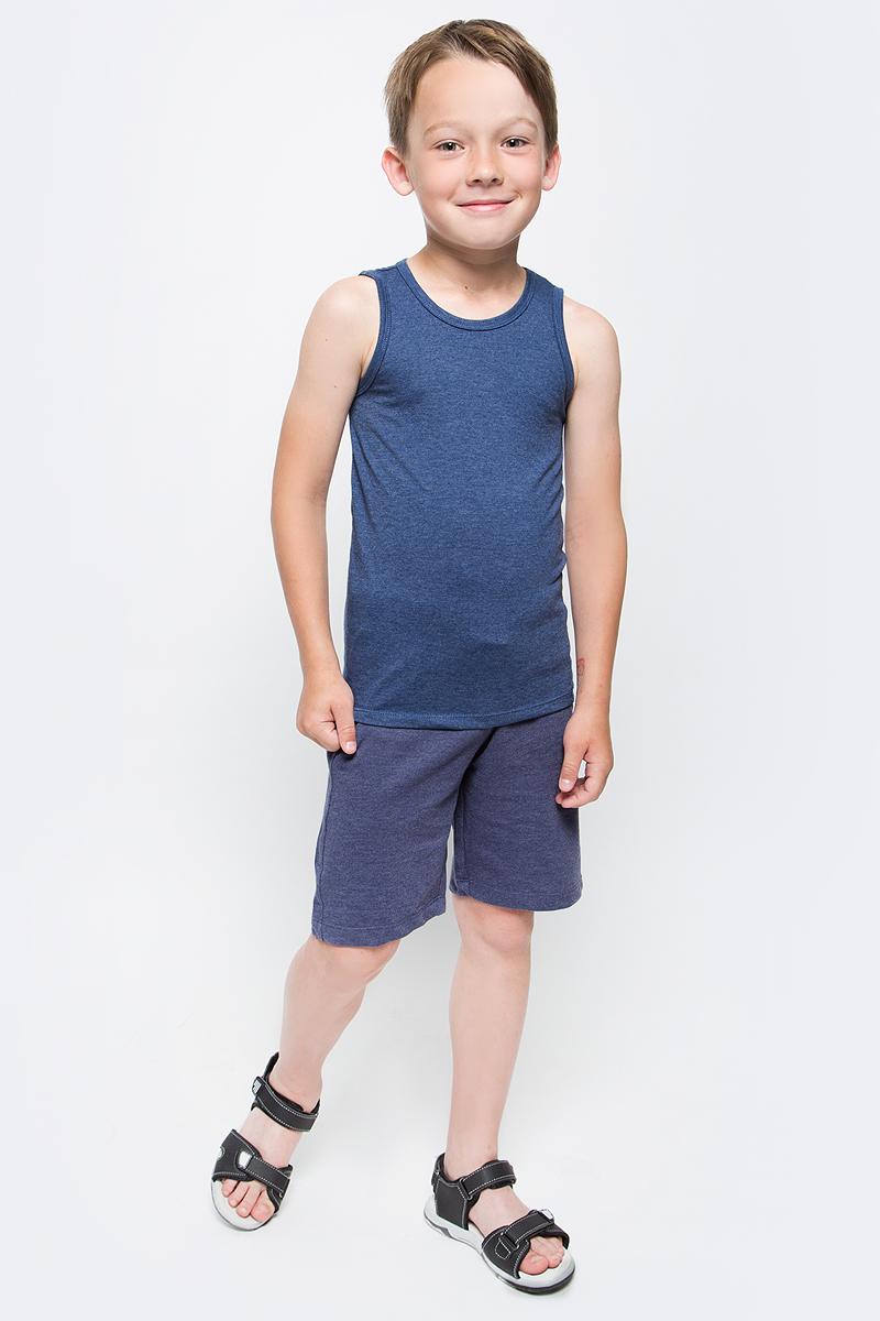 Майка для мальчика Sela, цвет: темно-синий джинс. Tslub-7852/015-7311. Размер 92/98, 2-4 годаTslub-7852/015-7311Майка для мальчика Sela изготовлена из хлопка с добавлением полиэстера. Модель имеет круглый вырез горловины и стандартную длину. Легкая и комфортная майка удобна в носке.