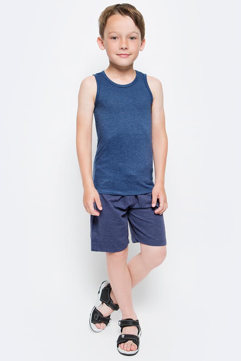 Шорты для мальчика Sela, цвет: синий. SHk-815/346-7340. Размер 140SHk-815/346-7340Удобные для мальчика Sela отлично подойдут для прогулок и отдыха маленького непоседы. Модель прямого кроя выполнена из качественного трикотажа и сзади дополнена накладным карманом. Шорты стандартной посадки на талии имеют широкий пояс на мягкой резинке, дополнительно регулируемый шнурком.