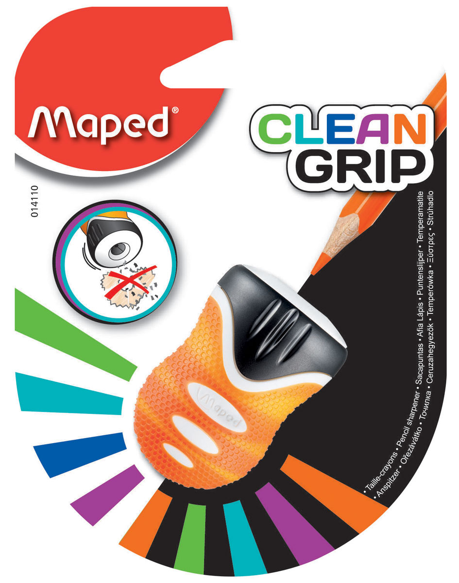 Maped Точилка Clean Grip цвет оранжевый014110Точилка Maped Clean Grip имеет одно отверстие. Оснащена автоматическим открытием и закрытием. Нескользящая фактура изготовлена для удобства удержания в руке.
