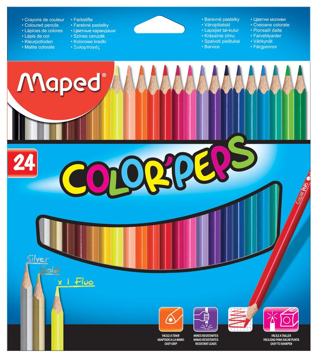Maped Набор цветных карандашей Colorpeps 24 цвета183224Набор цветных карандашей Maped Colorpeps поможет создать чудные картины вашему юному художнику.Карандаши изготовлены издревесины американской липы. Мягкий грифель карандаша легко рисует на бумаге и не царапает ее, устойчив к механическим деформациям илегко затачивается. Трехгранный корпус изготовлен из натуральной древесины и покрыт лаком на водной основе. В набор входят 24 цветных карандаша. С таким набором будет интересно рисовать не только вашему малышу, но и вам.