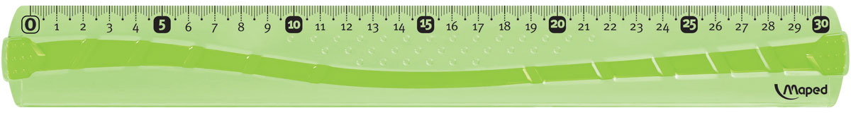 Maped Линейка цвет зеленый 30 см244030Линейка Maped используется как традиционный инструмент для черчения и рисования полей в школьных тетрадях.Изделие выполнено из небьющегося пластика (в случае использования по назначению). Градуировка нанесена УФ-чернилами, которые не сотрутся при длительном использовании.