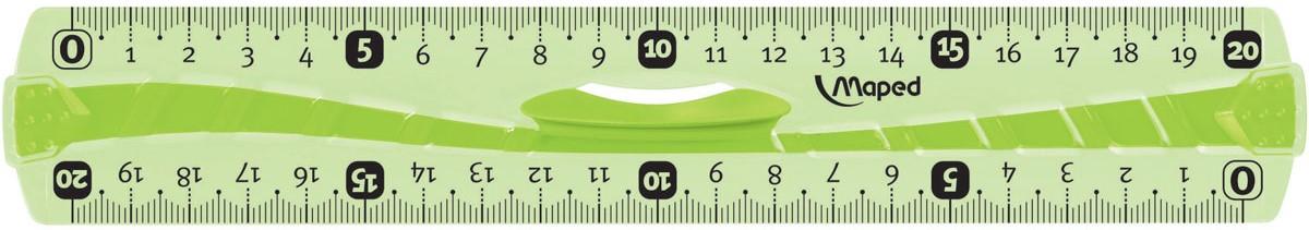 Maped Линейка Flex цвет зеленый 20 см244120Линейка - необходимый инструмент вашего рабочего стола.Линейка Maped Flex гибкая, цветная может понадобиться при изучении любого школьного предмета. Провести прямую линию и начертить отрезок на уроке математики? Легко!