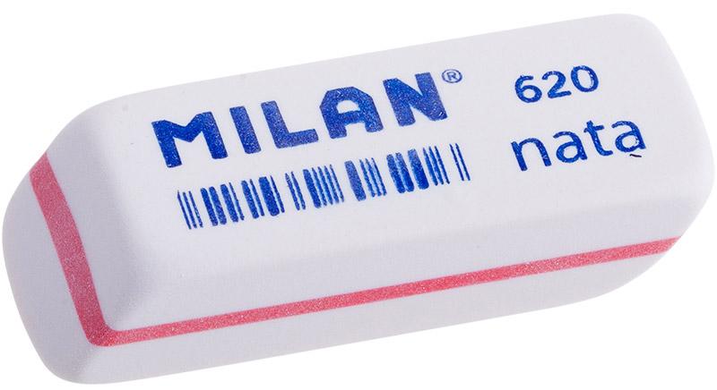 Milan Ластик Nata 620 cкошенный цвет белый красныйCPM620_белый, красныйЛастик Milan Nata 620 изготовлен из синтетического каучука с добавлением абразивных веществ. Подходит для работы с твердыми грифелями.Ластик обеспечивает высокое качество коррекции и не повреждает поверхность бумаги.