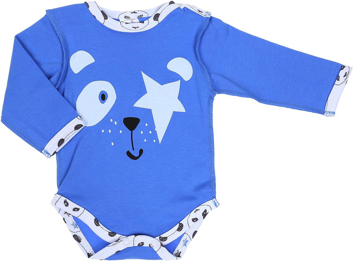 Боди детское КотМарКот Панда Rock, цвет: светло-бежевый, синий. 9524. Размер 689524Боди с длинным рукавом КотМарКот Панда Rock изготовлено из интерлока и оформлено ярким принтом с изображением панды. Материал изделия мягкий и тактильно приятный, не раздражает нежную кожу ребенка и хорошо пропускает воздух. Модель имеет удобные застежки-кнопки на плечах и на ластовице, что позволит легко переодеть ребенка или сменить подгузник. Круглый вырез горловины и проймы для ножек дополнены мягкой эластичной бейкой контрастного цвета. Изделие полностью соответствует особенностям жизни ребенка в ранний период, не стесняя и не ограничивая его в движениях.