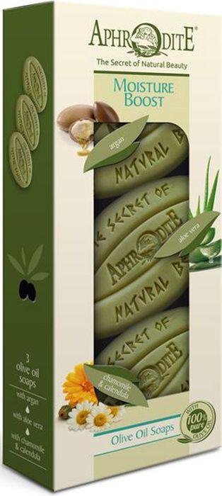 Aphrodite Набор мыла оливкового Интенсивное увлажнение: с арганой, с алоэ вера, с ромашкой и календулой, 3 х 255 гZ-3BМы подобрали для Вас виды мыла с лучшими увлажняющими свойствами.Оливковое мыло с аргановым маслом интенсивно увлажняет, способствует повышению эластичности и тонуса кожи. Незаменимо для обладательниц сухой и зрелой кожи. При длительном использовании улучшает состояние проблемной кожи.Оливковое мыло с алоэ вера обеспечивает глубокое увлажнение, питание и смягчение кожи.Оливковое мыло с ромашкой и календулой обладает антисептическими и успокаивающими свойствами.Набор оливкового мыла Интенсивное увлажнение, на основе критского оливкового масла и растительных ингредиентов, будет лучшим подарком для Вас и ваших близких.