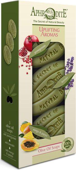 Aphrodite Набор мыла оливкового Бодрящие ароматы: с гранатом, лавандой, с манго и папайей, 3 х 255 гZ-3CВ подарочный набор Бодрящие ароматы от Aphrodite входят виды мыла, вобравшие в себя все ценные свойства оливкового масла и натуральных природных компонентов.Оливковое мыло с экстрактом граната обладает омолаживающим и антиоксидантным действием. Прекрасно подходит для сухой и зрелой кожи.Оливковое мыло с лавандой снимает напряжение и успокаивает, обладает противовоспалительными свойствами. Оно незаменимо при уходе за жирной, комбинированной и проблемной кожей.Оливковое мыло с манго и папайей манит вкусным экзотическим составом и ароматом. Оно обладает увлажняющими свойствами, отлично очищает кожу и делает ее нежной и шелковистой.Набор мыла создан для ценителей натуральных, здоровых продуктов.