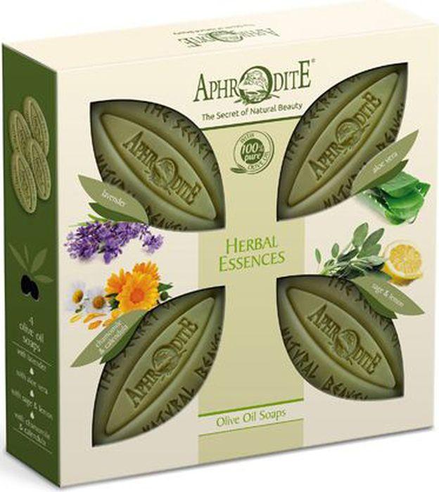 Aphrodite Набор мыла оливкового Ароматные травы: с лавандой, с алоэ вера, с шалфеем и лимоном, с ромашкой и календулой, 4 х 340 гZ-4AНабор Ароматные травы в презентабельной упаковке - отличный подарок для всей семьи! Каждый ее член может выбрать мыло по наиболее понравившемуся аромату и целебным свойствам. Оливковое мыло с лавандой обладает антибактериальными и успокаивающими свойствами. Прекрасно заживляет раны, снимает зуд и воспаления кожи.Мыло с тонким цитрусовым ароматом и нотками шалфея отлично подходит для обладателей жирной или комбинированной кожи, с проблемами акне. Масло лимона богато витамином С, мягко очищает кожу, обеспечивает необходимой влагой. А масло шалфея известно своими вяжущими и общеукрепляющими свойствами. Мелко измельчённые листья шалфея обеспечивают лёгкий отшелушивающий эффект и глубоко очищают поры.Мыло с алоэ вера оказывает противовоспалительное, глубоко увлажняющее и смягчающее действие. Оно специально разработано с учетом особенностей сухой и зрелой кожи. Подберите свое оливковое мыло!