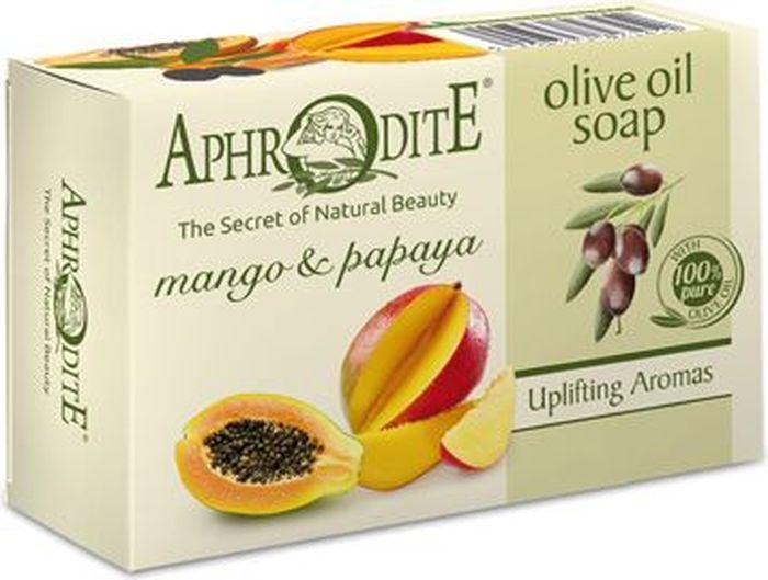 Aphrodite Мыло оливковое с манго и папайей, 100 гZ-71Натуральное мыло с экзотическим ароматом и полинасыщенными маслами оливок, манго и папайи способствует активизации обменных процессов на клеточном уровне, увлажняют и смягчают кожу.Оливковое мыло производится с использованием только натуральных природных ингредиентов. Отлично очищает и освежает кожу. Может использоваться не только для ухода за телом, но и за лицом без опасения появления чувства стянутости. Аромат экзотических фруктов поднимает настроение и дарит бодрость на целый день. 100% натуральный продукт. Не содержит консервантов, животных жиров и искусственных красителей.