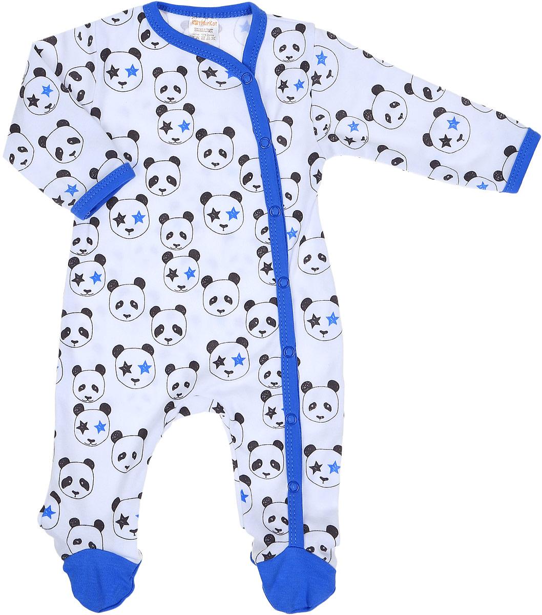 Комбинезон домашний детский КотМарКот Панда Rock, цвет: белый, синий. 6324. Размер 866324Удобный домашний комбинезон с закрытыми ножками КотМарКот Панда Rock изготовлен из интерлока и оформлен принтом с изображением панд. Материал изделия мягкий и тактильно приятный, не раздражает нежную кожу ребенка и хорошо пропускает воздух. Модель с длинными рукавами имеет удобные застежки-кнопки спереди и на одной ножке, что позволит легко переодеть ребенка или сменить подгузник. Круглый вырез горловины дополнен мягкой эластичной бейкой контрастного цвета. Изделие полностью соответствует особенностям жизни ребенка в ранний период, не стесняя и не ограничивая его в движениях.