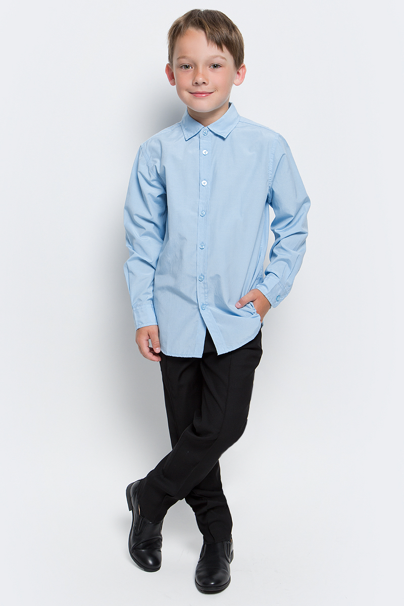 Рубашка для мальчика Sela, цвет: голубой. H-812/211-7310. Размер 134, 9 летH-812/211-7310Рубашка для мальчика Sela выполнена из высококачественного материала. Модель с отложным воротником и длинными рукавами застегивается на пуговицы. Манжеты застегиваются на пуговицы.