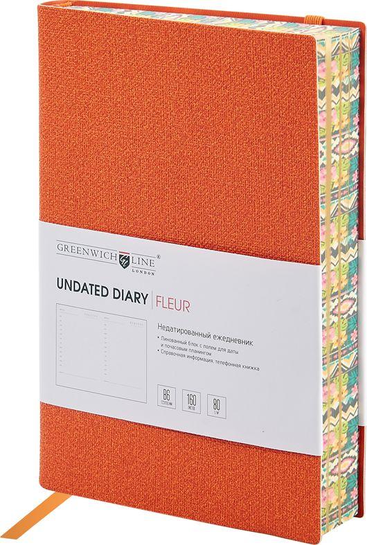 Greenwich Line Ежедневник Fleur недатированный 160 листов цвет оранжевый формат B6ENB6CR-11249Стильный ежедневник Greenwich Line Fleur с гибкой обложкой из эффектного мягкого кожзаменителя и вертикальной фиксирующей резинкой. Яркий срез блока и форзацы с полноцветным рисунком. Внутренний блок из 160 листов высококачественной тонированной офсетной бумаги повышенной плотности 80 г/м2, пантонная печать в 2 краски. Прошитый блок. Закладка-ляссе в цвет обложки. Индивидуальная упаковка. Подходит под персонализацию.