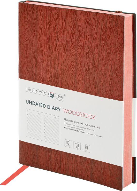 Greenwich Line Ежедневник Woodstock недатированный 136 листов цвет коричневый формат B6 greenwich line дневник школьный mercury цвет красный