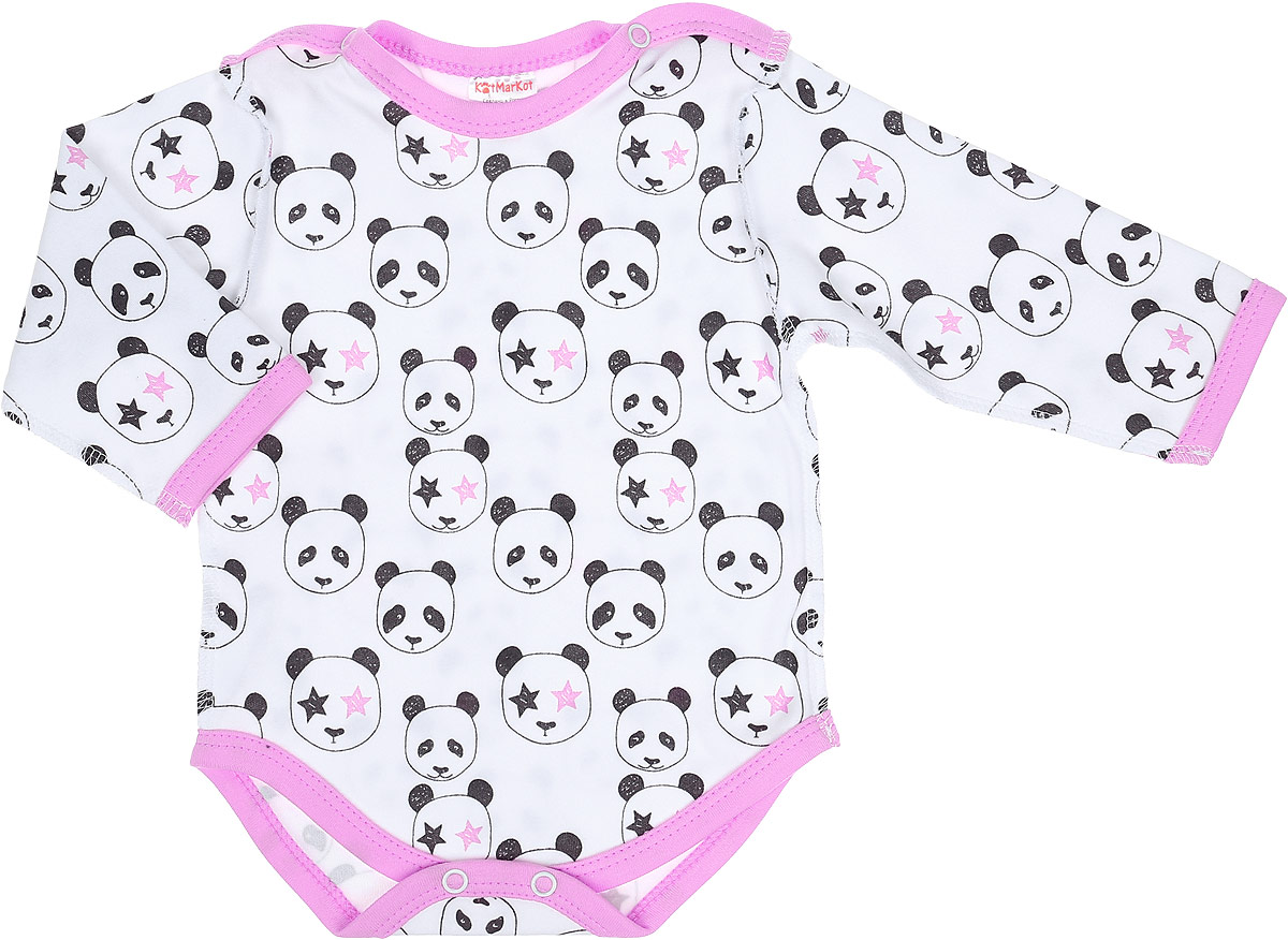 Боди для девочки КотМарКот Панда Rock, цвет: светло-бежевый, розовый. 9225. Размер 869225Боди с длинным рукавом КотМарКот Панда Rock изготовлено из интерлока и оформлено ярким принтом с изображением панд. Материал изделия мягкий и тактильно приятный, не раздражает нежную кожу ребенка и хорошо пропускает воздух. Боди имеет удобные застежки-кнопки на плечах и на ластовице, что позволит легко переодеть ребенка или сменить подгузник. Круглый вырез горловины и проймы для ножек дополнены мягкой эластичной бейкой контрастного цвета. Боди полностью соответствует особенностям жизни ребенка в ранний период, не стесняя и не ограничивая его в движениях.