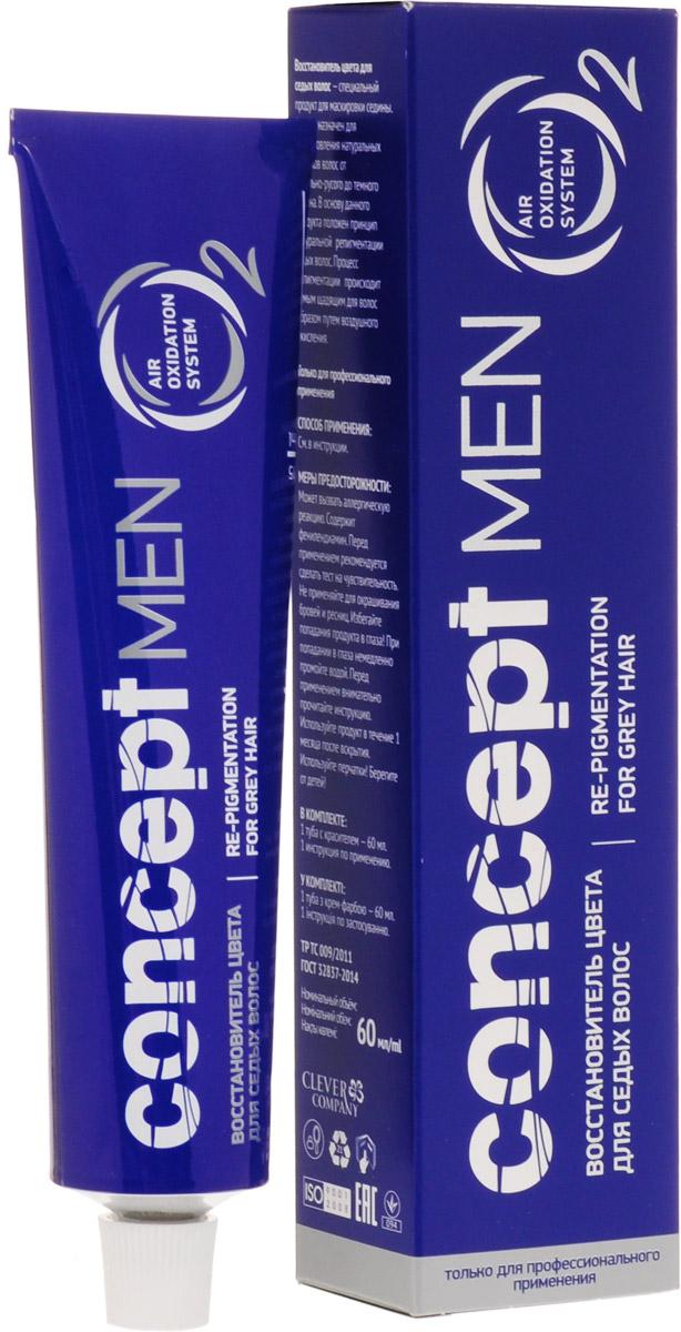 Сoncept Men Средство для восстановления цвета седых волос Для темно-русых волос, 60 мл33842Восстановитель цвета для седых волос Сoncept MEN - специальный продукт для маскировки седины, предназначенный для восстановления натуральных оттенков депигментированных волос.Продукт позволяет скрыть первую седину или уменьшить ее на 40-60%, сохранив при этом совершенно естественный вид волос, которые при этом не будут казаться окрашенными.В основу данного продукта положен принцип натуральной Ре-пигментации седых волос. ? Специально разработанная рецептура состава, котораявосстанавливает цвет седых волос в натуральный цвет.? Не используется аммиак.? Быстро наносится прямо в мойкеили с помощью кисти из мисочки.? Время выдержки всего 15-30 минут,но с учетом исходной базы его можносократить на 10 минут.? Обеспечивает естественноетонирование седины, что дает эффектестественности, натуральности, вотличие от любых другихокислительных мужских красителей.? Восстановитель цвета не смешивается с Окисляющейэмульсией!- Возможно ополаскивание волос 3% Окисляющейэмульсией на 2-3 минуты после применения Восстановителяцвета. В этом случае вы получаете быстрое восстановлениецвета седых волос.- Можно не применять Окисляющую эмульсию послевосстановителя седины. В этом случае цвет волос постепеннодостигает заявленного тона за 2-3 дня под воздействиемкислорода из атмосферного воздуха.? Возможно использовать продукт для восстановления цвета (приданияоттенка) усов и бороды при отсутствии контакта со слизистой оболочкойглаз, носа и рта.? Для тонирования седины продукт может быть использован иженщинами. ? После химической завивки или химического выпрямлениярекомендуется применять продукт не ранее, чем через 14 дней последанных процедур.