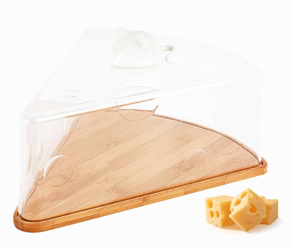Сырница Balvi I Love Cheese, цвет: прозрачный25379Сырница Balvi - очень оригинальный и полезный кухонный аксессуар, который не только прекрасно выглядит, но и прекрасно справляется со своей основной задачей. Кусочек свежего сыра будет великолепно смотреться на увесистой подставке из натурального дерева. Сырница имеет крышку в виде треугольного кусочка сыра, изготовленную из акрила. Благодаря натуральной деревянной основе сыр надолго сохранит свои пищевые качества в такой сырнице, а герметичная крышка поможет сохранить аппетитный вид продукта. Подарите сырницу I Love Cheese заботливой хозяйке, которой нравятся функциональные и необычные вещицы.