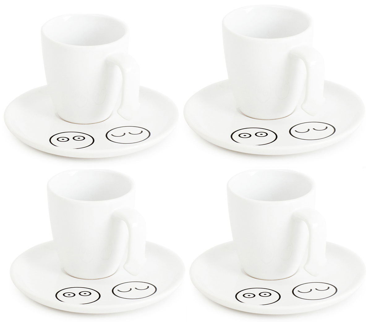 Набор кофейных чашек Balvi Caffe In, цвет: белый, 4 шт25584Светлый и позитивный набор повседневных чашек для кофе Caffe In всегда придется кстати, если захочется выпить чашечку крепкого и бодрящего кофе. Набор впишется в интерьер любой кухни и порадует глаз своим необычным дизайном. Белый классический цвет чашечек отлично гармонирует на фоне заварного черного кофе, делая любимый напиток в разы привлекательнее. В наборе идут четыре чашки, одинаковых по форме и объему. К каждой чашечке прилагается изысканное керамическое блюдечко, украшенное забавными мордашками.- Уникальный и стильный набор, состоящий из четырех керамических чашек и блюдечек.- Забавный рисунок в форме смешных мордочек на поверхности блюдечка.- Набор станет отличным подарком для кофеманов.