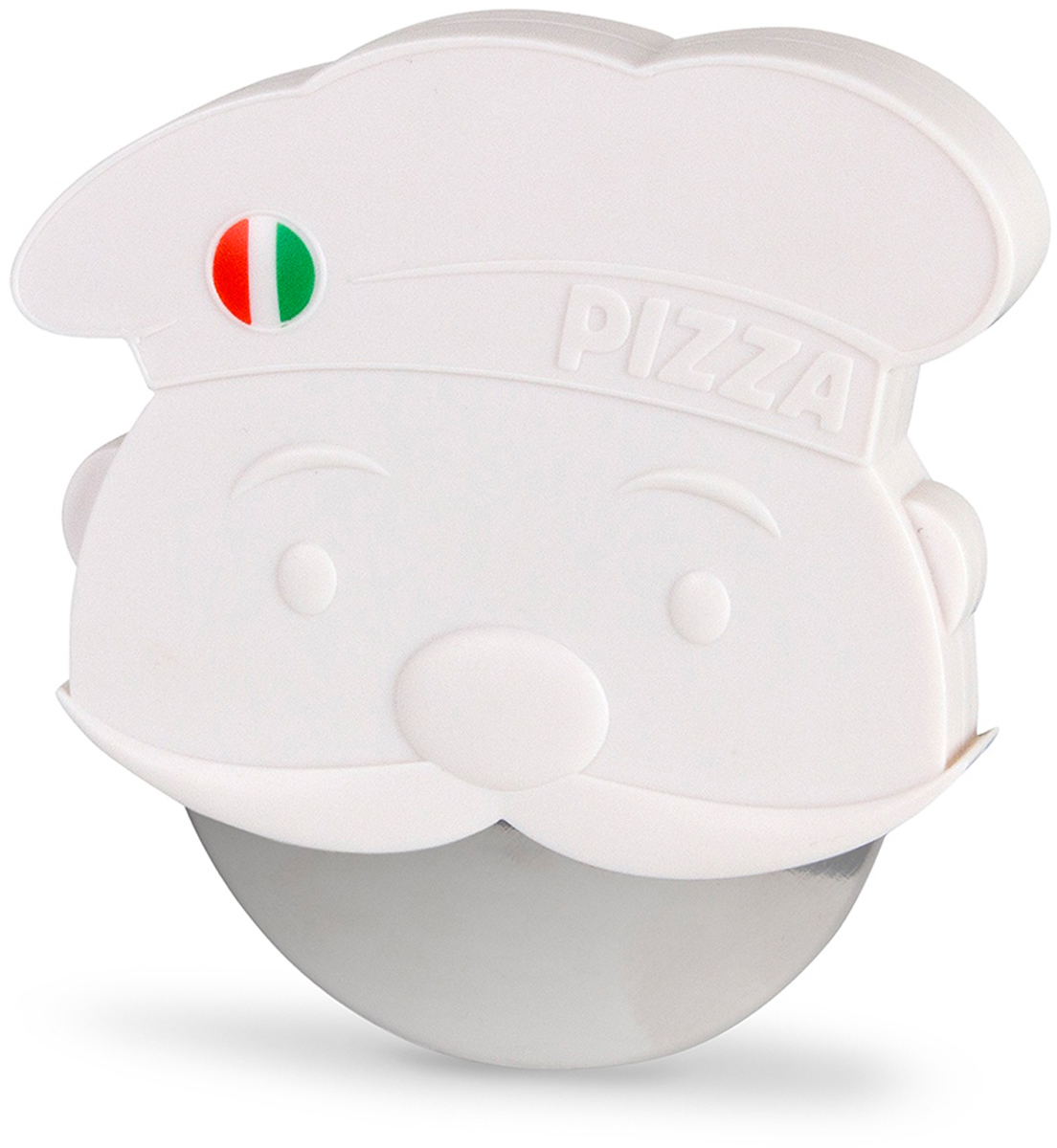 Нож для пиццы Balvi Pizzaiolo, цвет: белый25815Незаменимый прибор на кухне - нож для пиццы Pizzaiolo. Пластиковая рукоятка ножа выполнена в виде итальянского повара с роскошными усами, на колпаке у которого красуется флаг Италии. Лезвие этого ножа для пиццы изготовлено из сверхпрочной нержавеющей стали, что позволит легко и быстро разделить пиццу на равные куски и подать к столу. Уникальный дизайн корпуса-рукоятки защитит ваши руки от случайных порезов. - Оригинальный дизайн рукоятки ножа в виде итальянского повара.- Нож для пиццы изготовлен из нержавеющей стали.- Пластиковая рукоятка надежно защитит от порезов.