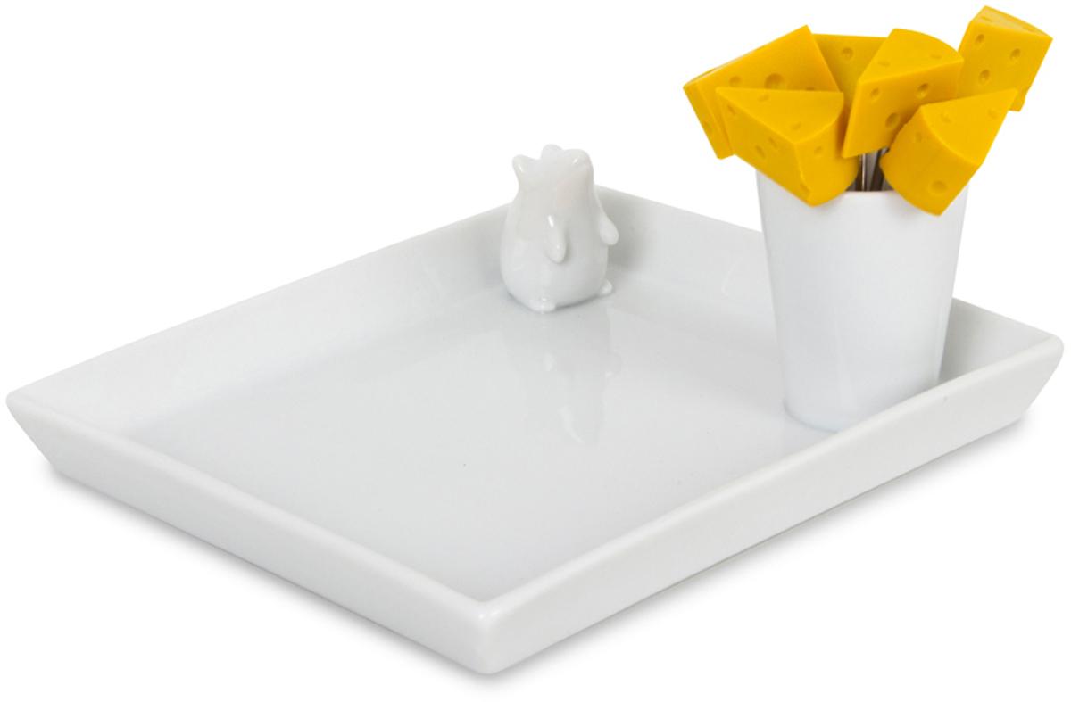 Набор для сыра Balvi I Love Cheese: блюдо и шпажки, цвет: белый набор шпажек для канапе обезьянки 6шт с подставкой