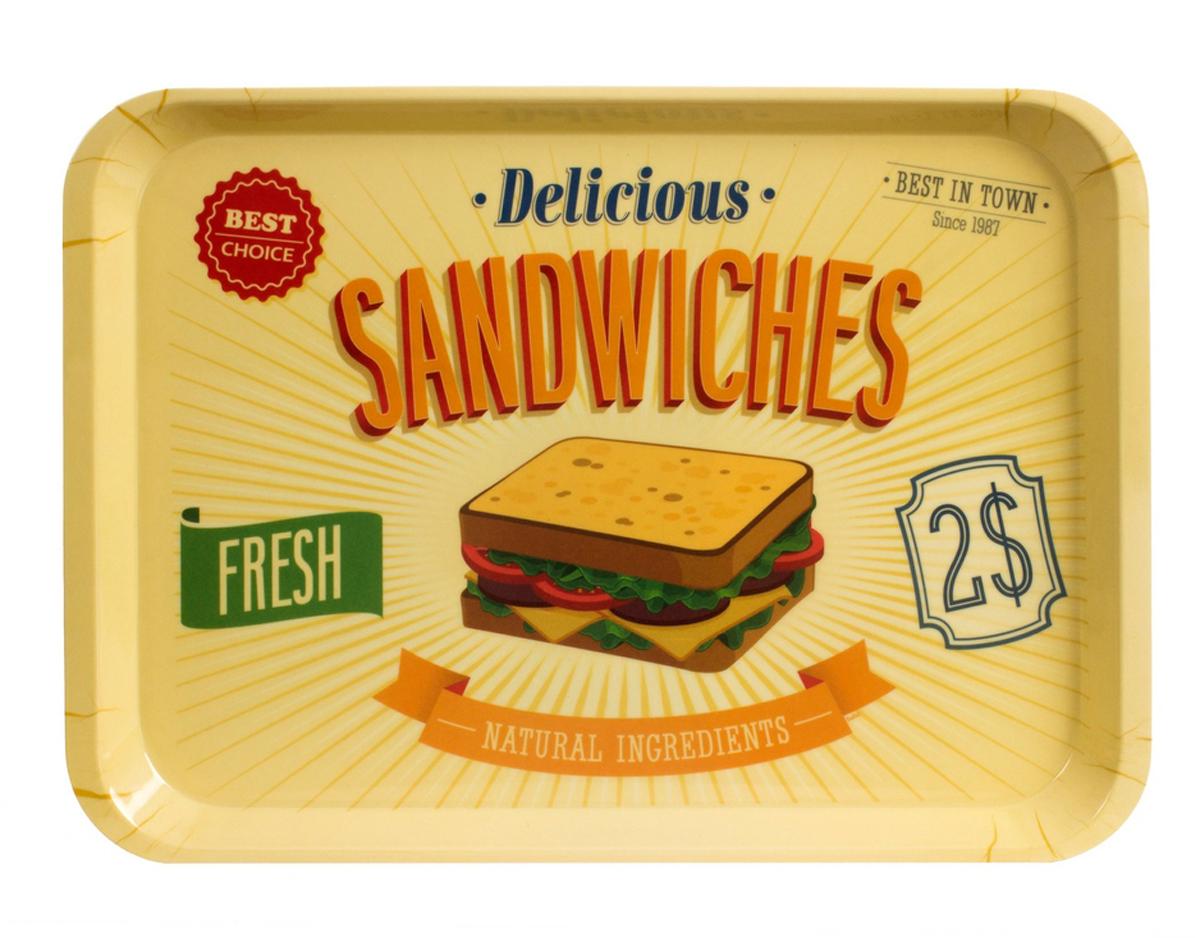 Поднос Balvi Best Sandwiches, цвет: бежевый25941Поднос Balvi прекрасно оценят на любой молодежной тусовке или, например, во время завтрака в постель. В плане эксплуатации - это замечательный и удобный поднос, который можно использовать в ресторанной сфере. С точки зрения дизайна, это идеальный кантри-стиль с изображением аппетитного сэндвича. Такой подарок и элемент декора точно не даст заскучать владельцу. Даже в самый хмурый день этот полезный и красивый аксессуар поднимет настроение всем, кто в этом так нуждается. Угостите свою вторую половинку утренним кофе, поднеся чашечку с горячим напитком и закуской на подносе Best Sandwiches, и вы увидите искреннюю улыбку любимого человека.- Прекрасный дизайн подноса в кантри-стиле.- Поднос выполнен из прочного и безопасного материала (меламина).- Поднос станет отличным подарком для всех.